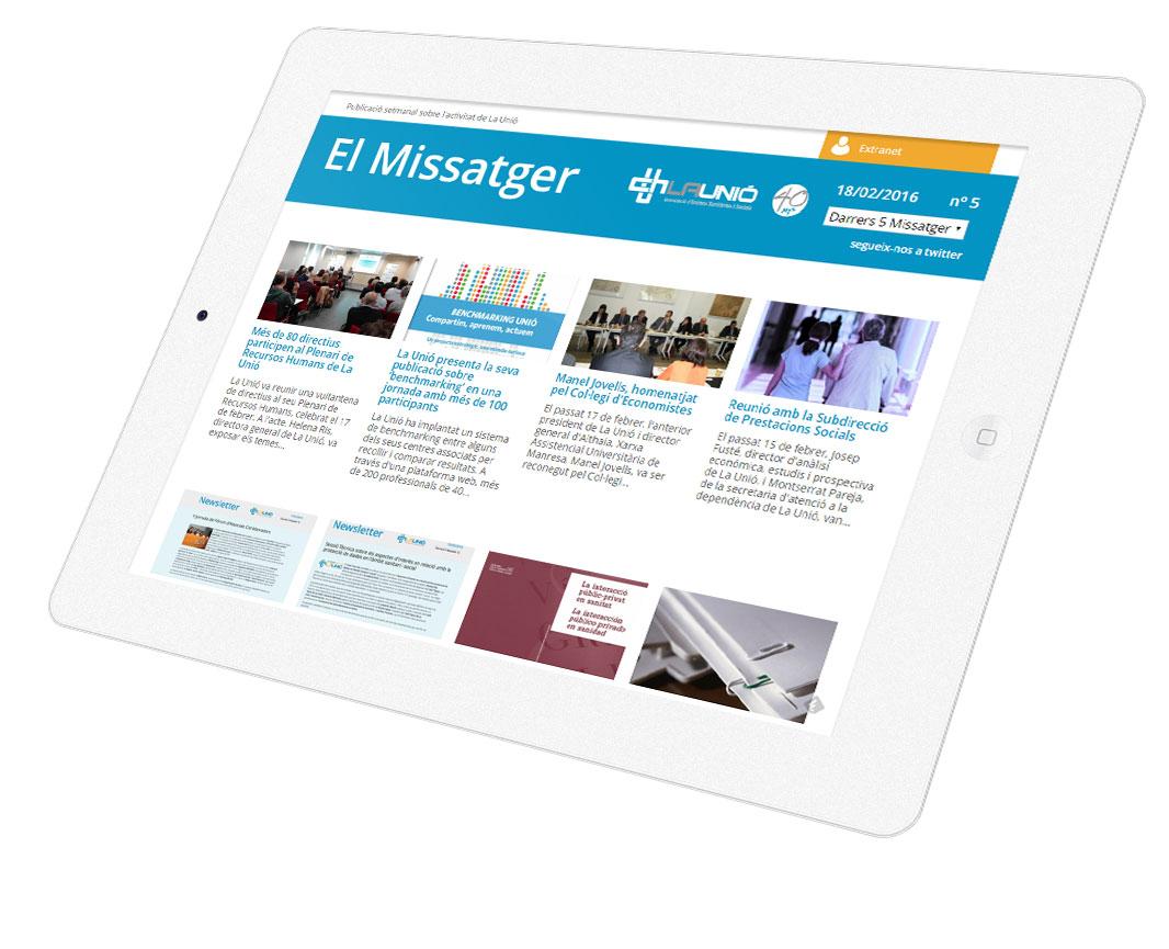 La Unió. El Missatger, publicació digital en tablet (Responsive)