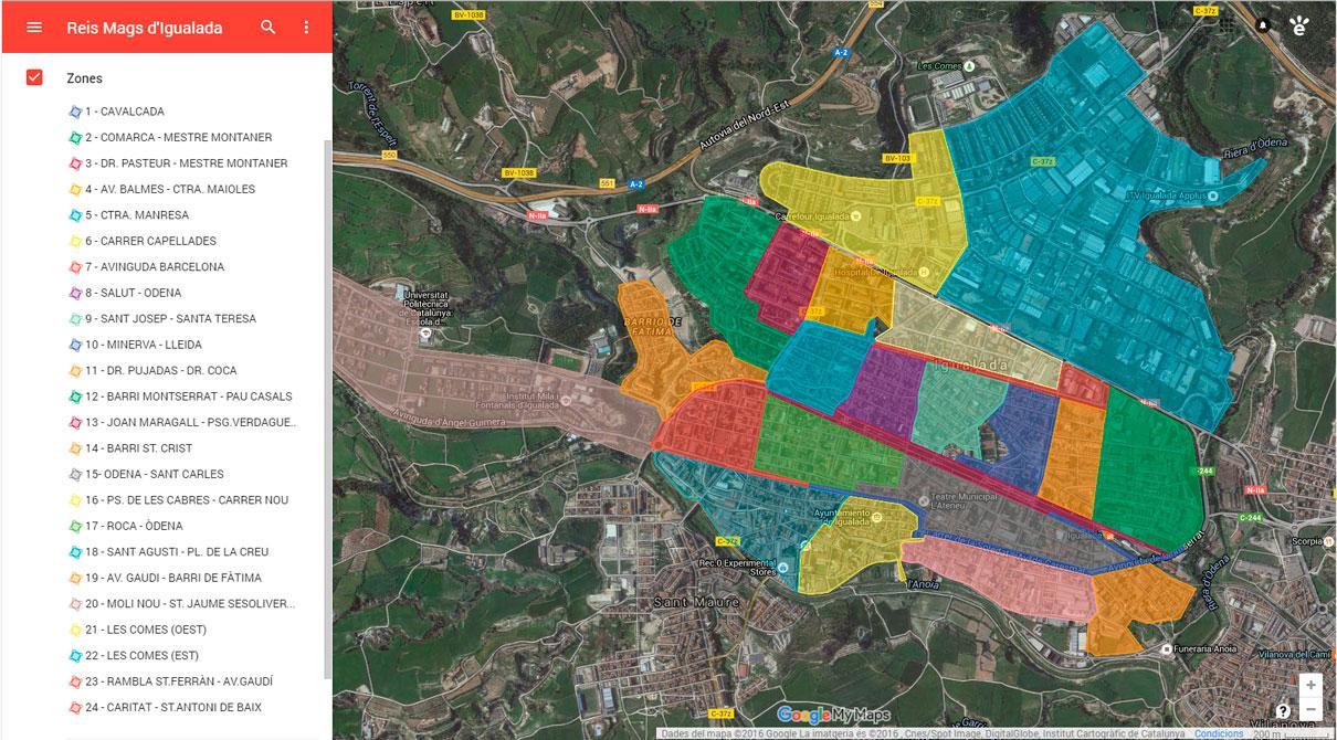 Reis d'Igualada. Mapa de zones de repartiment