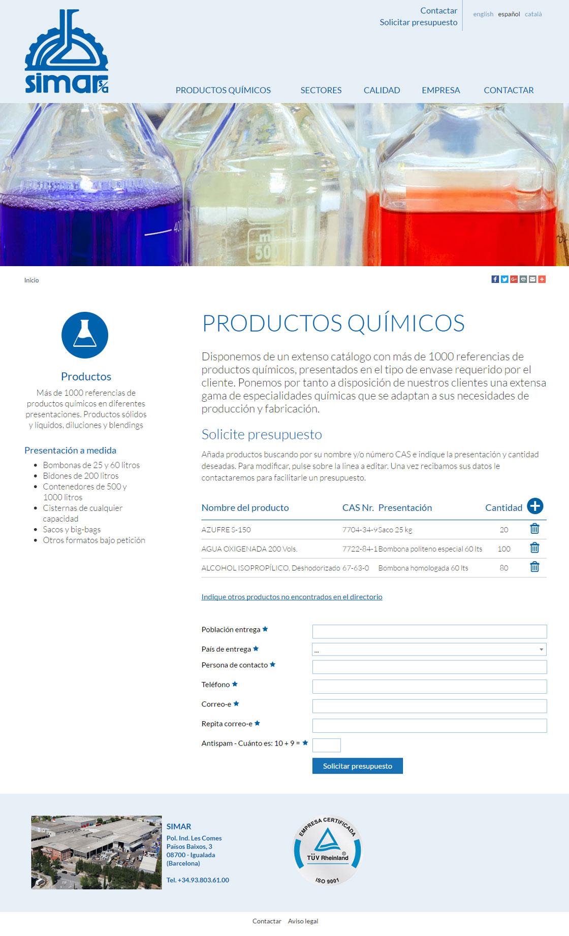Web catàlogo SIMAR - Productos químicos